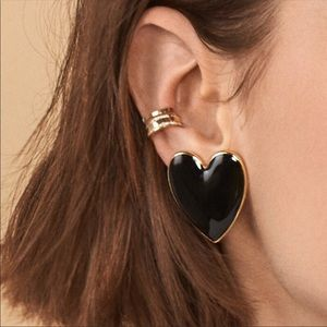 NWT Anthropologie Black Heart Earrings